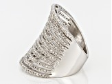 Pre-Owned White Diamond Rhodium Over Sterling Silver Ring 1.14ctw