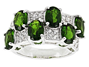 Pre-Owned Green Chrome Diopside And White Zircon Sterling Silver Ring 4.70ctw