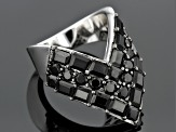 Pre-Owned Black Spinel Sterling Silver Chevron Ring 5.77ctw