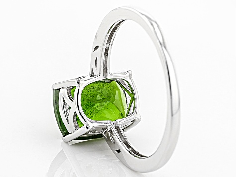Pre-Owned Green Chrome Diopside Sterling Silver Solitaire Ring 3.22ct