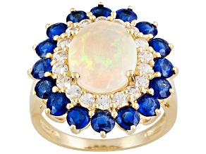 Pre-Owned Multicolor Ethiopian Opal 10k Yellow Gold Ring 4.72ctw