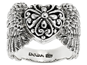 Pre-Owned Sterling Silver Angel Wings Heart Ring