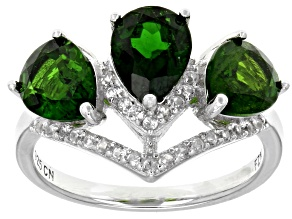 Pre-Owned Green Russian Chrome Diopside Rhodium over Sterling Silver 3-Stone Ring 4.27ctw
