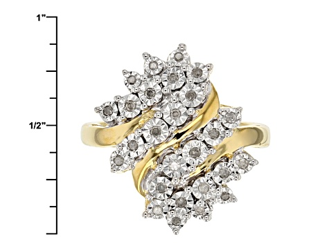 Pre-Owned 14k Yellow Gold Over Sterling Silver Diamond Ring .15ctw