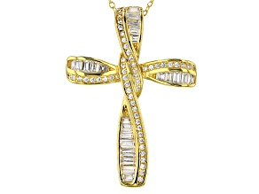 Pre-Owned White Cubic Zirconia 18k Yg Over Silver Pendant With Chain 2.34ctw