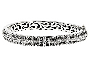 Pre-Owned White One Diamond Accent Silver Bracelet .03ctw