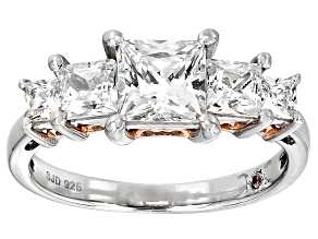 Pre-Owned Cubic Zirconia Silver And 18k Rose Gold Over Silver Ring 3.77ctw (2.38ctw DEW)