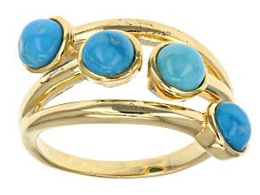 Pre-Owned Turquoise 18k Yellow Gold Over Brass Bypass Ring