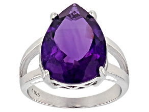 Pre-Owned Purple Brazilian Amethyst Sterling Silver Solitaire Ring 10.00ctw