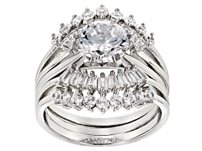 Pre-Owned White Cubic Zirconia Rhodium Over Sterling Silver Ring With Guard 5.80ctw