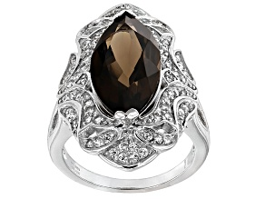 Pre-Owned Brown Brazilian Smoky Quartz Sterling Silver Ring 5.57ctw