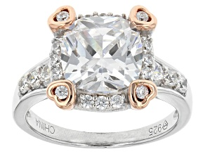 Pre-Owned Cubic Zirconia Silver And 18k Rose Gold Over Silver Ring 3.65ctw (3.36ctw DEW)