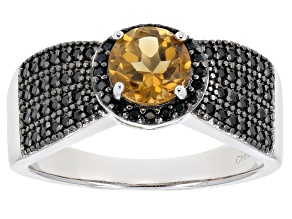 Pre-Owned Yellow Brazilian Citrine Rhodium Over Sterling Silver Ring 1.03ctw