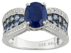 Pre-Owned Blue Sapphire Sterling Silver Ring 2.78ctw
