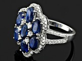 Pre-Owned Blue Kyanite Rhodium Over Sterling Sliver Ring 5.50ctw