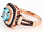 Pre-Owned Blue Brown And White Cubic Zirconia 18k Rg Over Sterling Silver Ring 4.31ctw
