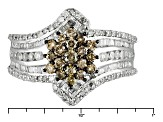 Pre-Owned Champagne And White Diamond 10k White Gold Ring 1.50ctw
