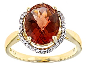 Pre-Owned Red Labradorite 10k Yellow Gold Ring 3.09ctw