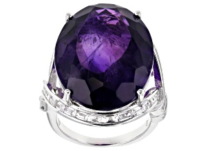 Pre-Owned Purple African Amethyst Rhodium Over Sterling Silver Ring 22.75ctw