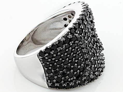 Pre-Owned Black Spinel Sterling Silver Ring 1.90ctw