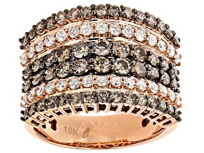 Pre-Owned Champagne And White Diamond 10k Rose Gold Ring 2.00ctw
