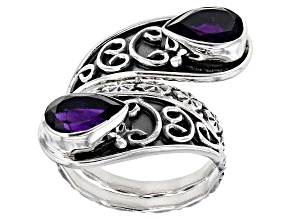 Pre-Owned Purple Amethyst Sterling Silver Bypass Ring 3.00ctw