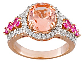 Pre-Owned Morganite Simulant Synthetic Pink Sapphire And White Cubic Zirconia 18k Rose Gold Over Sil