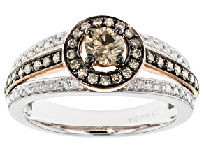 Pre-Owned Champagne And White Diamond 10k Two-Tone Ring .90ctw