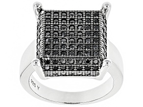 Pre-Owned Black Spinel Rhodium Over Sterling Silver Ring 1.74ctw
