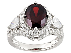 Pre-Owned Red And White Cubic Zirconia Silver Ring 6.83ctw