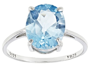 Pre-Owned Blue Topaz Sterling Silver Ring 4.80ctw