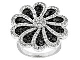 Pre-Owned Black Spinel And White Zircon Sterling Silver Ring 4.51ctw