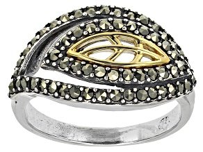 Pre-Owned Metalitc Marcasite Two-Tone Silver Leaf Motif Ring