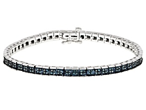 Pre-Owned Blue Diamond Rhodium Over Sterling Silver Bracelet 1.00ctw