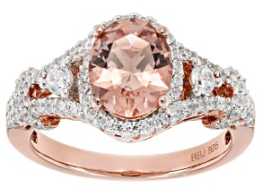 Pre-Owned Morganite Simulant And White Cubic Zirconia 18k Rose Gold Over Sterling Silver Ring 2.41ct