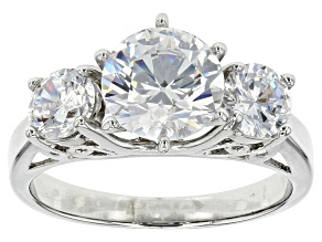 Pre-Owned Bella Luce 4.53ctw Round Cubic Zirconia .925 Sterling Silver 3-Stone Ring