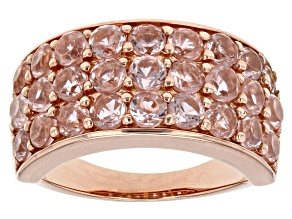 Pre-Owned Morganite Simulant 18k Rose Gold Over Sterling Silver Ring 4.65ctw