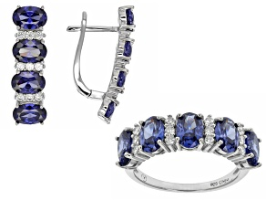 Pre-Owned Blue And White Cubic Zirconia Rhodium Over Silver Earrings And Ring Set 7.75ctw