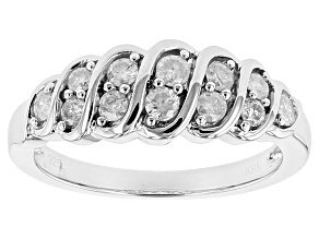 Pre-Owned Diamond Rhodium Over Sterling Silver Ring .50ctw