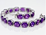 Pre-Owned Purple Amethyst Sterling Silver Bracelet 29.00ctw
