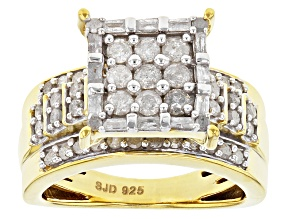 Pre-Owned Diamond 14k Yellow Gold Over Sterling Silver Ring .90ctw