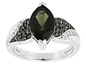 Pre-Owned Green Moldavite Sterling Silver Ring 1.65ctw