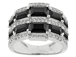 Pre-Owned Black Spinel Sterling Silver Ring 3.02ctw