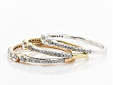 Pre-Owned White Diamond 10k White, Rose And Yellow Gold 3 Band Ring Set .33ctw