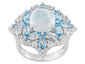 Pre-Owned Blue Larimar Sterling Silver Ring 4.03ctw