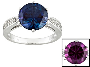 Pre-Owned Color Change Lab Created Alexandrite 10k White Gold Ring 3.94ctw