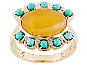 Pre-Owned Orange Chalcedony And Turquoise 18k Yellow Gold Over Brass Ring