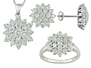 Pre-Owned Cubic Zirconia Rhodium Over Sterling Silver Jewelry Set 8.64ctw