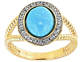 Pre-Owned Blue Turquoise 18k Yellow Gold Over Sterling Silver Ring .20ctw