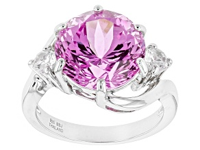 Pre-Owned Pink Lab Created Sapphire Sterling Silver Ring 8.26ctw